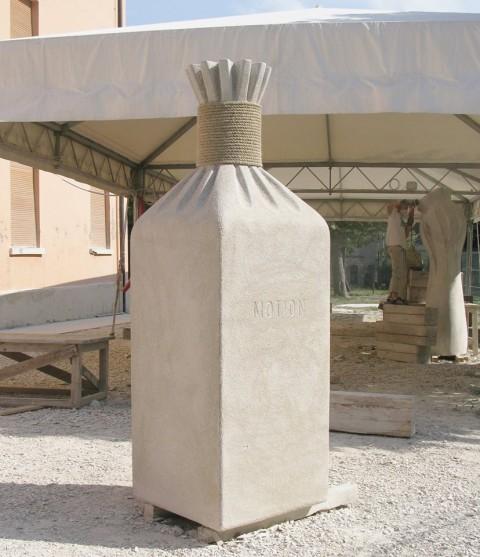"""Locked Motion"",2011.stone, 210 x 80 x 80 cm. ""Scolpire in piazza"". Italy."