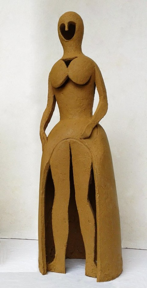 """Present Lady"", 2015, clay, 30 cm. Internationales Keramiksymposium Römhild Thüringen , Germany."
