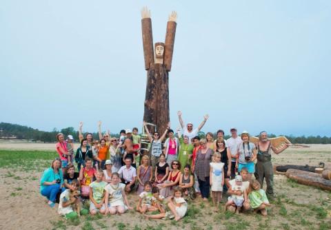 "International EcoArt Festival "" Point of Return"", Irkutsk - Baikal. July 2015.  ""SOS""- save Baikal, wood,iron, 600 x 160 x 70 cm"