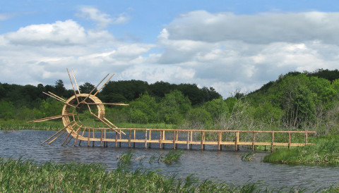"""Back Flip Bridge"" 2009 Wood, 550 x 1850 x 80 cm, Picherande, Massif du Sancy, France"