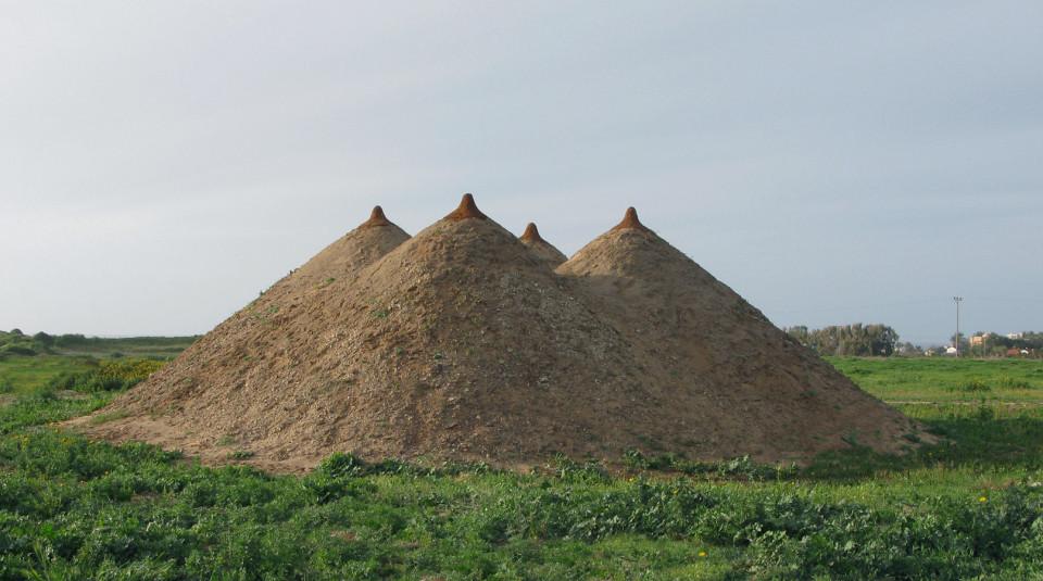 """G.Pyramid"",2009.  Soil  400X1200X1200 cm  Park Dina, Israel"