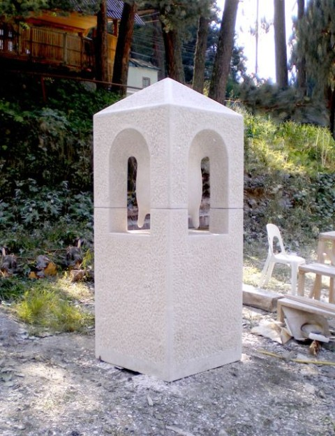"""Temple"",2008.  Dolomite stone.  210 x 80 x 80 cm.  Vladikavkaz, Russia."