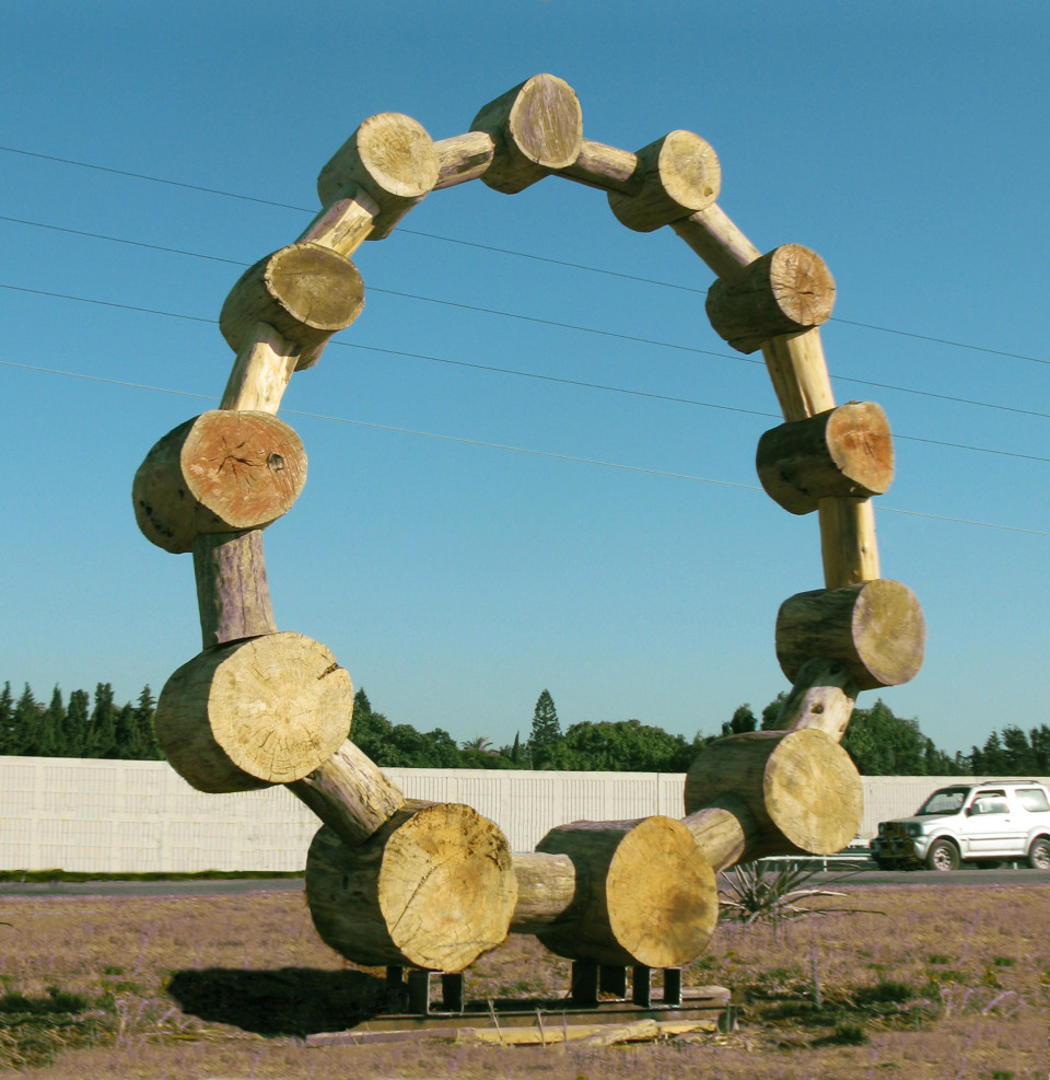 """Chaplet"" 2012 wood 400 x 350 x 60 cm. The Green Gallery,Israel"