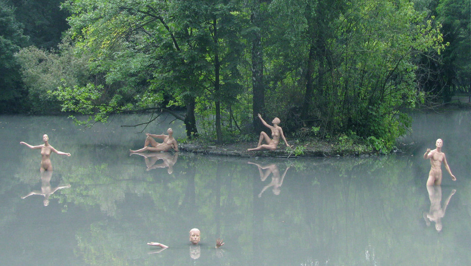 """Dissolution in Nature"",2011 Vladikavkaz, Russia Manekens, iron, epoxy, variable sizes."