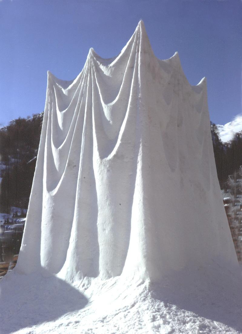 """White Curtain""  2010 Snow, 500 x 350 x 350 cm, International Snow Sculpture Competition, Valloire, France"