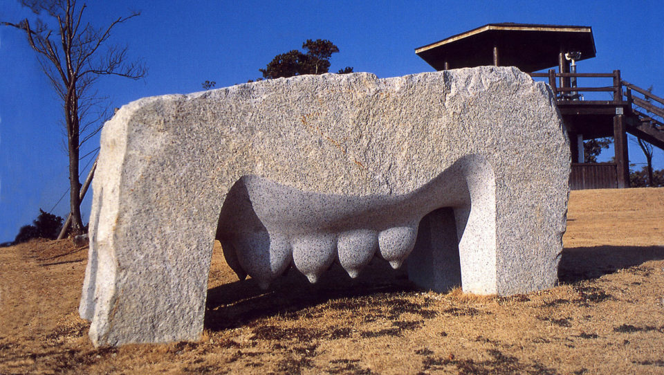 """stone mother"",1999 Granite 90 x 200 x 90 cm Nichiharima, Japan"
