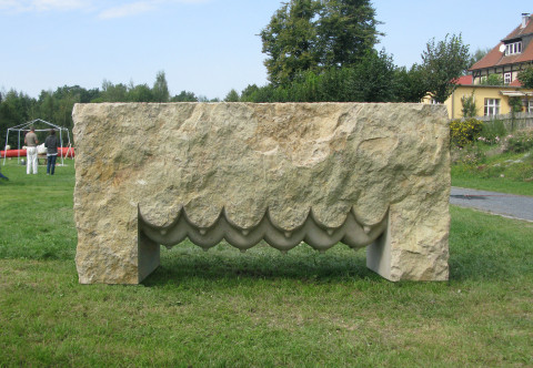 """Mother Nature"",2011. sandstone. 120 x 260 x 70 cm . Noritzburg, Germany."