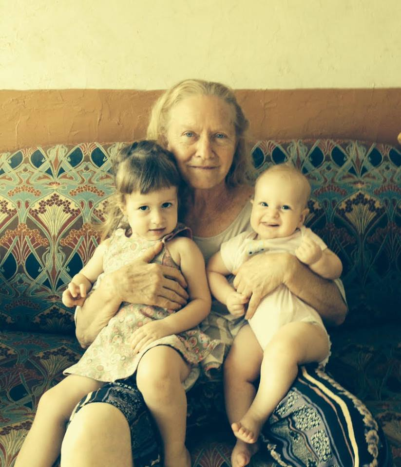 My youngest granddaughters happy that grandmother arrived.