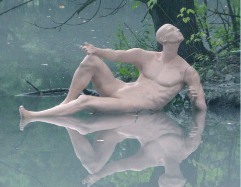 """Dissolution in Nature"",2011 Manekens, iron, epoxy, variable sizes Vladikavkaz, Russia"