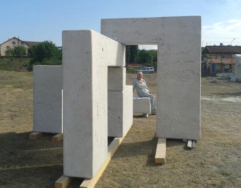 new door game by tanya preminger made of travertin 240 x 340 x 550 Romania