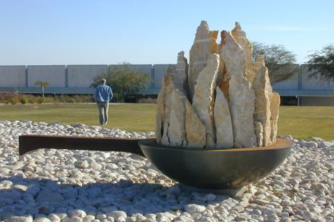 """Saucepan"",2004 stone,iron,concrete , Israel"