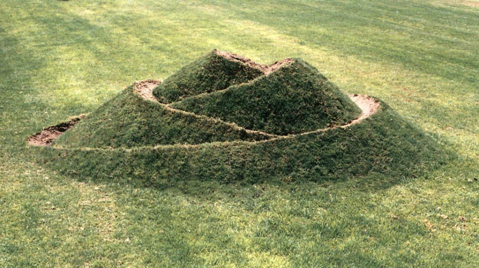 """""""Bud"""" 1989.  Soil, grass. 180 x 600 x 400 cm.  Givat-Brener, Israel."""