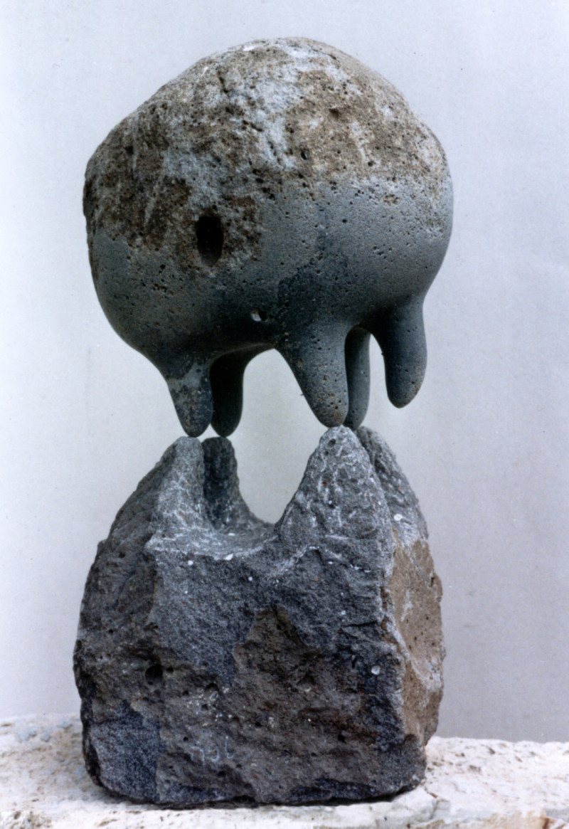 """Sky and Earth"" 1996 Basalt, 60 x 30 x30 cm, Israel"