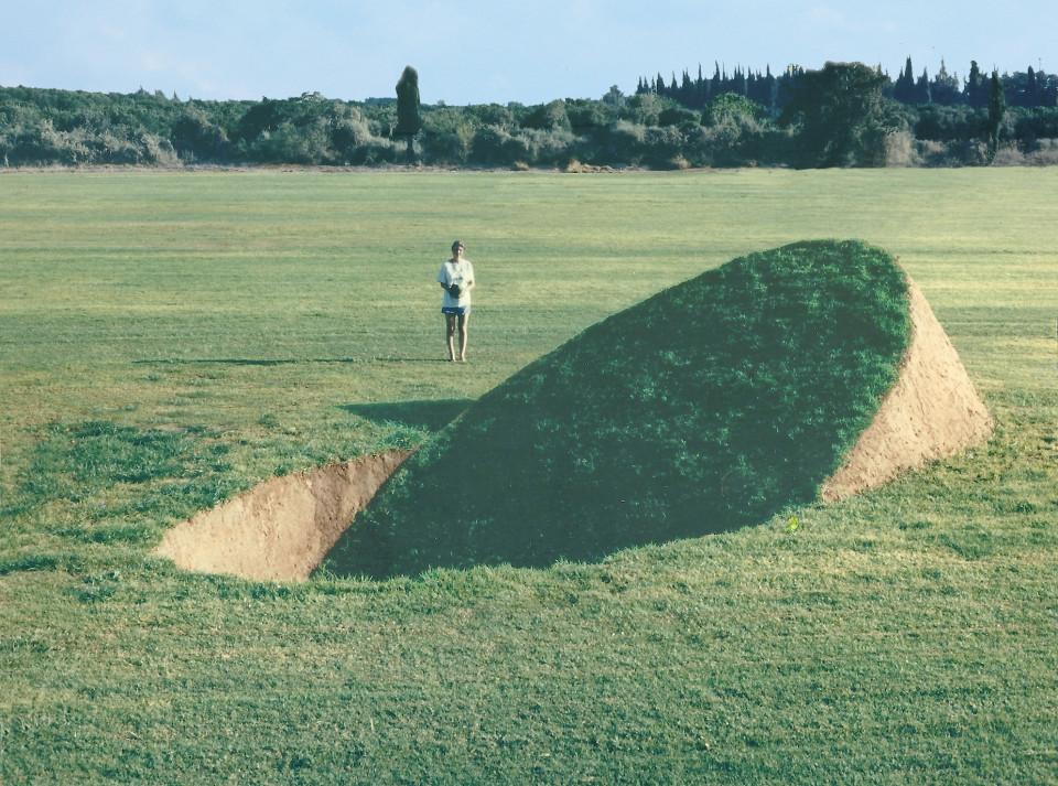 """Balance"" 1989.soil,grass.350x900x450.Givat Brener,Israel"