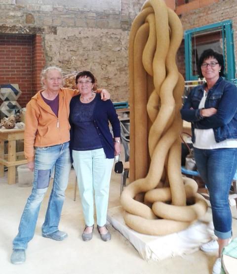 Tanya Preminger with Gertrud and  Dagmar Lang-WenzelSteinwenden visit me in Internationales Keramiksymposium Römhild Thüringen 2015