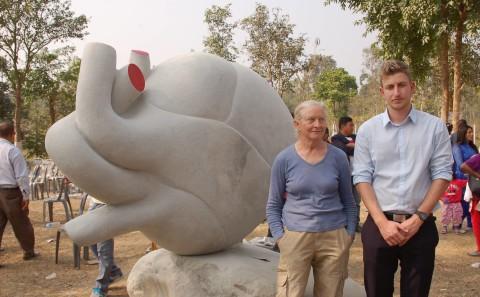 Tanya Preminger with Nadav Shemesh, Second Secretare Embassy of Israel in Nepal. Taltalaiya, Itahari, Nepal