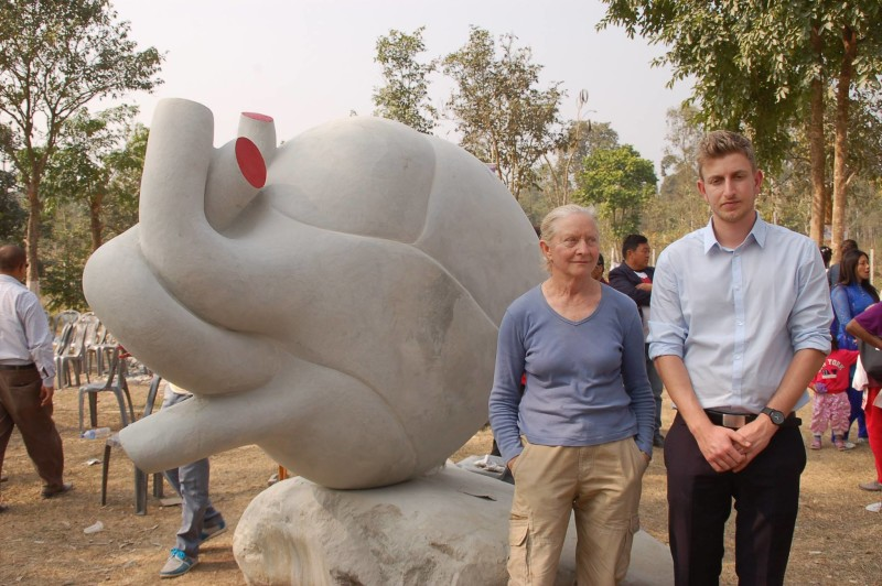 Tanya Preminger with Nadav Shemesh, Second Secretare Embassy of Israel in Nepal. Taltalaiya, Itahari, Nepal