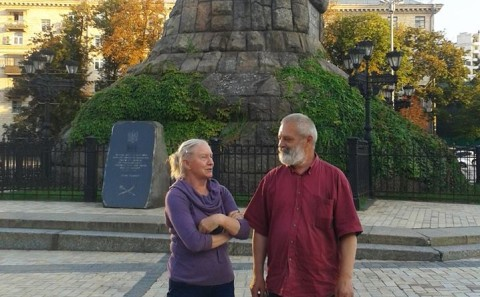 Tanya Preminger with curator of symposium Oleksandr Diachenko in Centre of Kiev Ukraina 2016