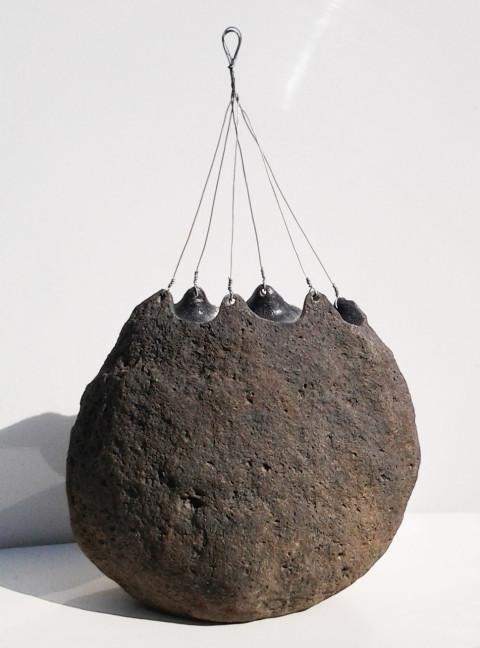 """Pouch"" ,2012, basalt, wire, 40x25x14cm, Israel"