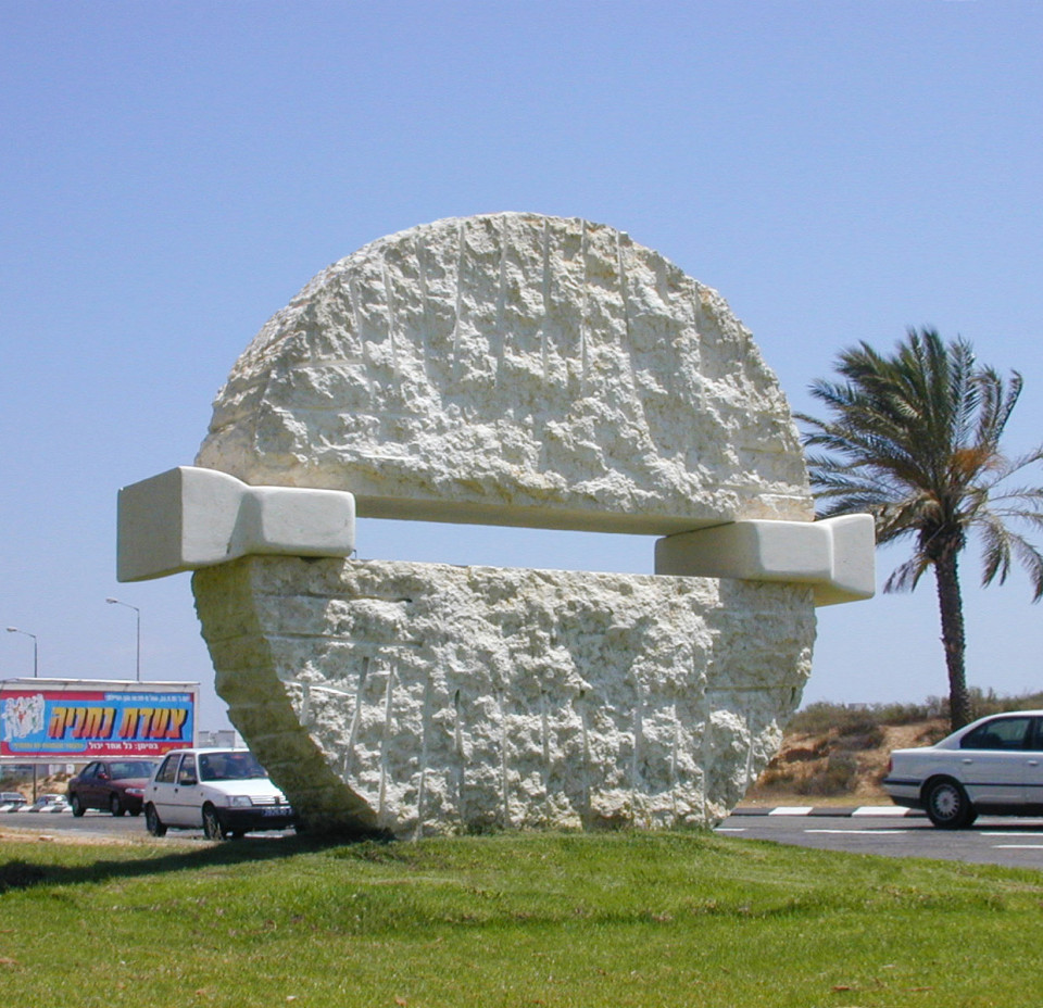 """Exodus"". 2002. Marble. 200 x 240 x 70 cm. Ashdod, Israel."