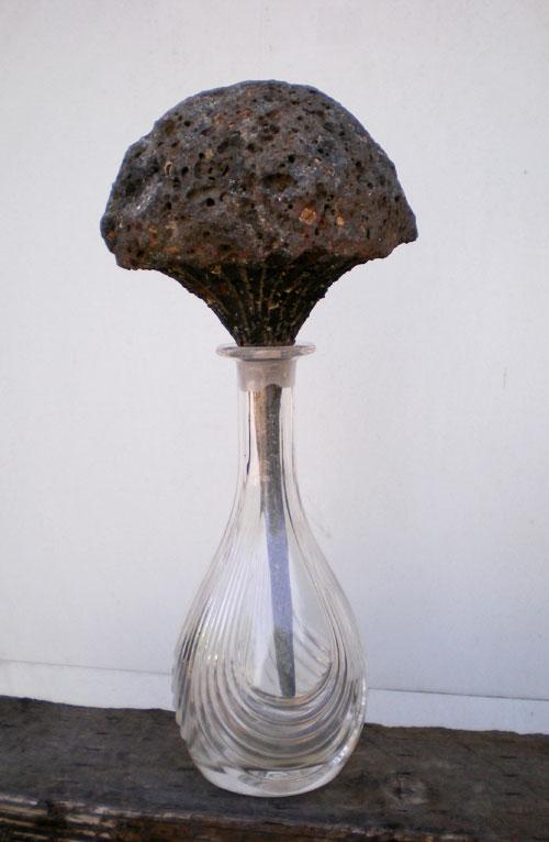 """""""Bouquet"""". 2007.  Basalt, glass.  40 x 18 x 16 cm."""