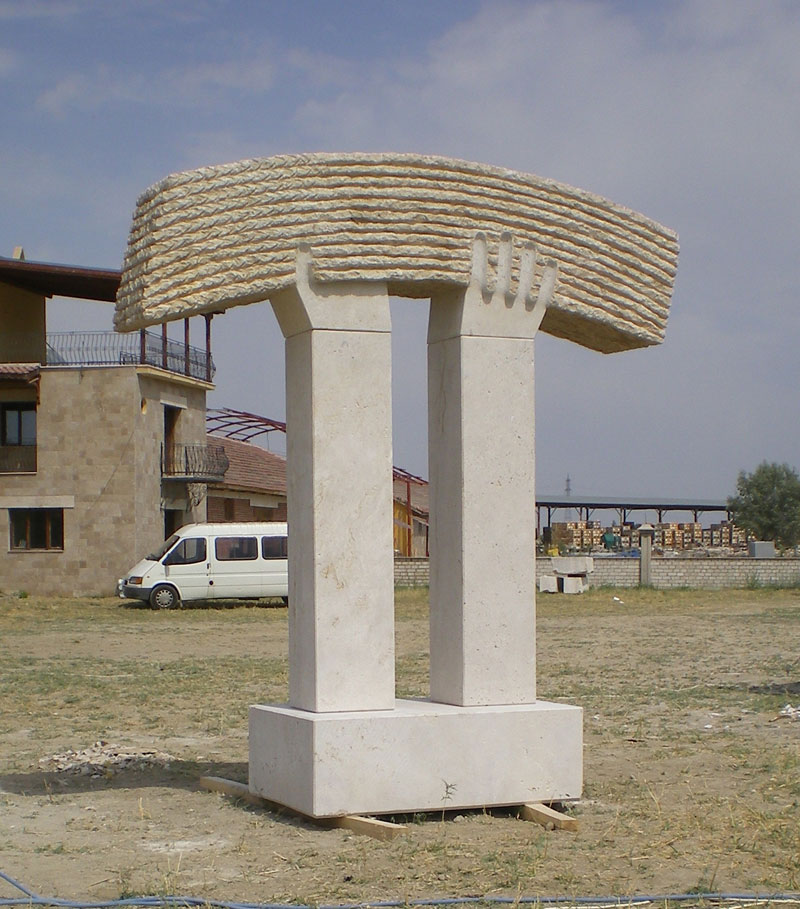 """Harvest"",2008.  Travertine.  360 x 300 x 100 cm.  Salihli, Turkey."