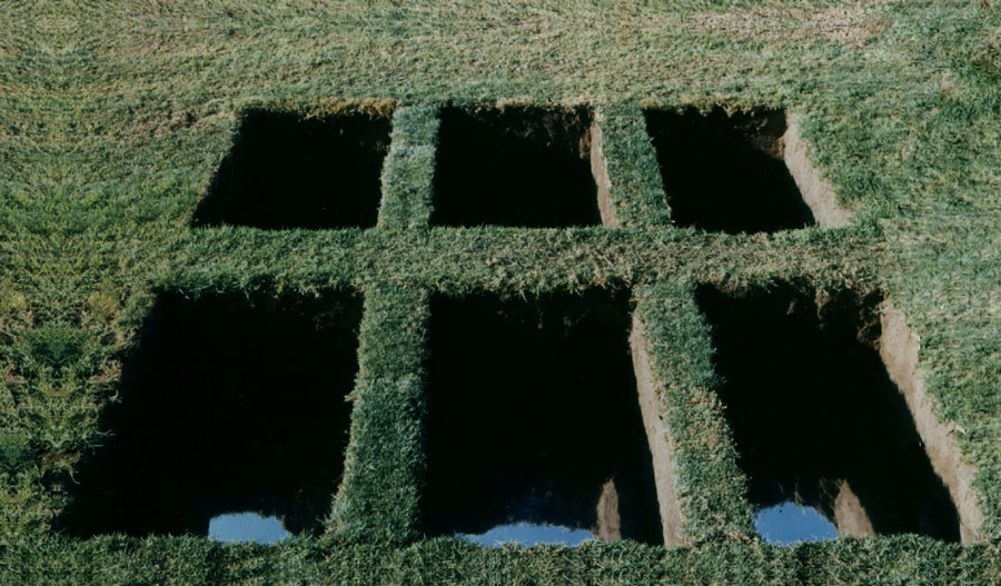 """Window into Another World"". 1989.  Soil, grass, mirror.  90 x 500 x 300 cm.   Givat-Brener, Israel."